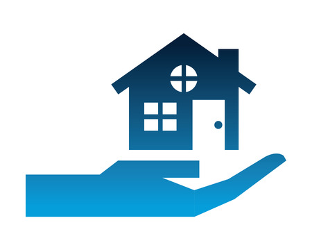 hand with house building silhouette icon vector illustration design