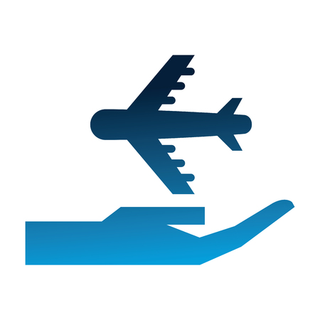hand with airplane silhouette isolated icon vector illustration design Ilustração