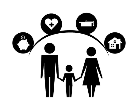 parents and son silhouettes with life icons vector illustration design