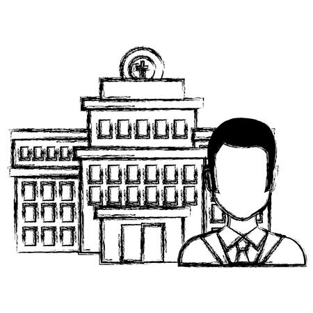 doctor man with hospital building vector illustration design 向量圖像