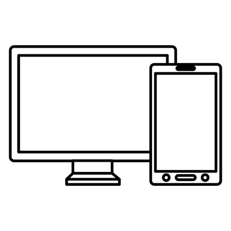 monitor and smartphone devices vector illustration design  イラスト・ベクター素材
