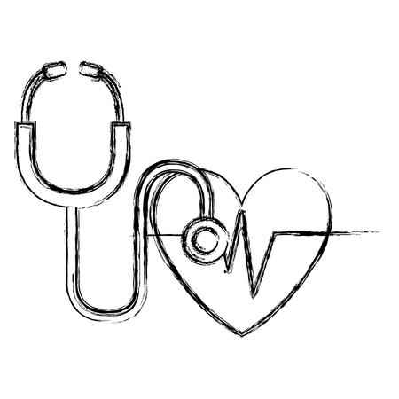 cardio del cuore con progettazione dell'illustrazione di vettore dello stetoscopio