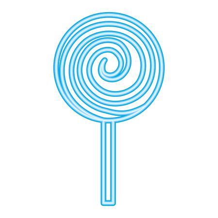 neon spiral sweet candy lollipop vector illustration