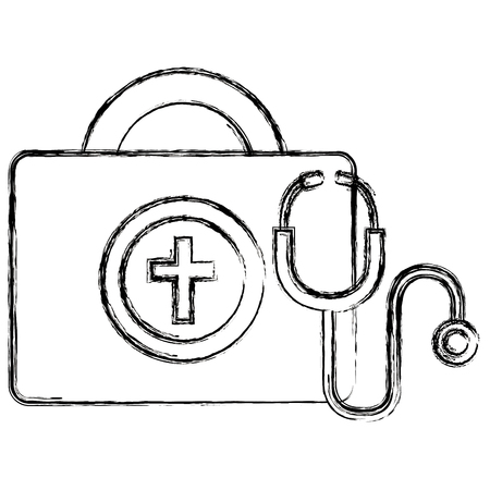 medical kit with stethoscope vector illustration design