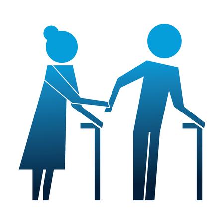 grandparents couple avatars silhouettes vector illustration design