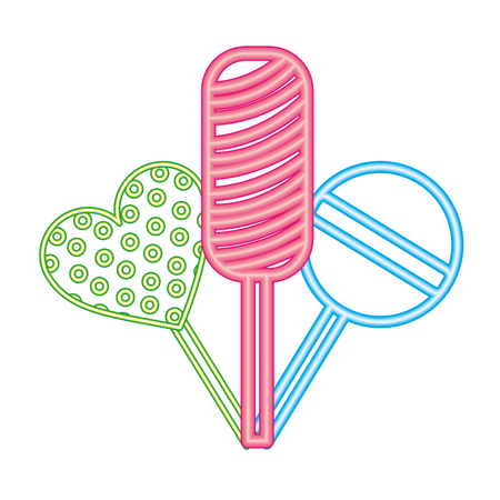 sweet candy lollipops hard confection neon light vector illustration