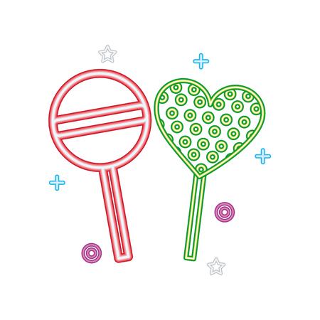 süße Süßigkeiten Lutscher Herz helle Neon-Vektor-Illustration