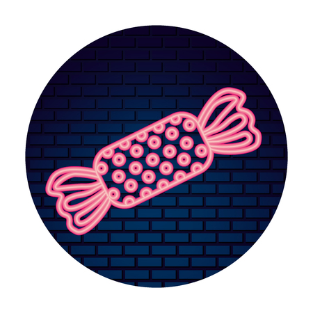 sweet candy confetionery neon wall brick vector illustration