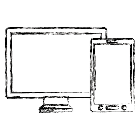 monitor and smartphone devices vector illustration design