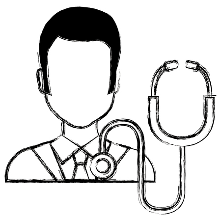 doctor man with stethoscope character vector illustration design