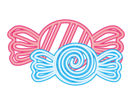 two sweet candies wrapper confetionery neon vector illustration Ilustrace