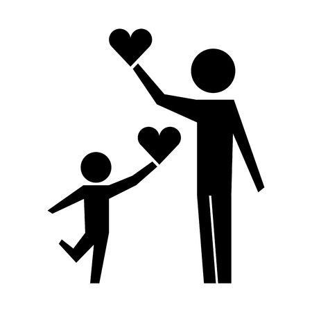 father and son with hearts silhouette isolated icon vector illustration design