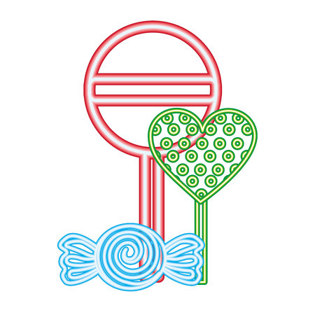 sweet candy heart lollipops caramel wrapper neon vector illustration Illustration