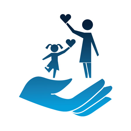 hand with mother and daughter silhouette icon vector illustration design