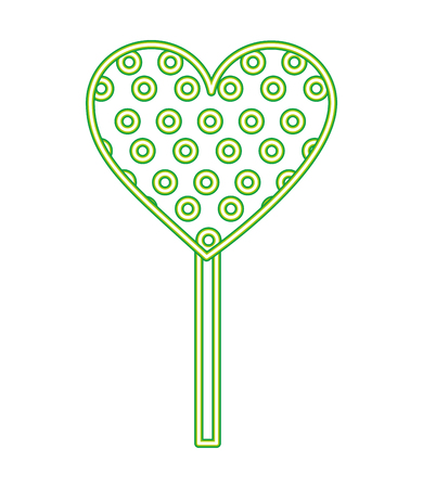 neon lollipop heart sweet candy in stick vector illustration