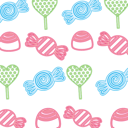 neon pattern sweet candies caramels background vector illustration