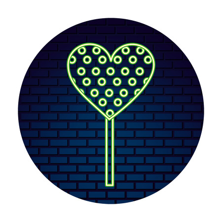 neon lollipop heart sweet candy in stick vector illustration Foto de archivo - 110419952