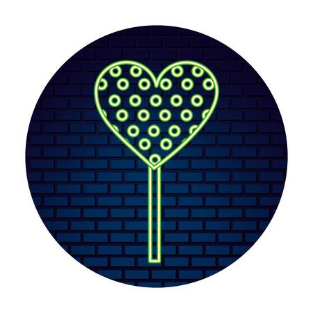 neon lollipop heart sweet candy in stick vector illustration