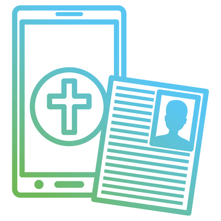 smartphone with medical curriculum vector illustration design