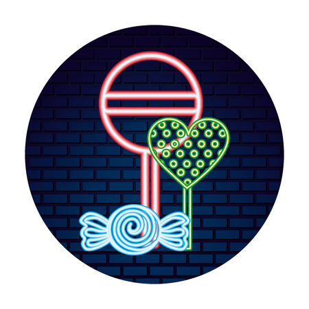 sweet candy heart lollipops caramel wrapper neon vector illustration Иллюстрация