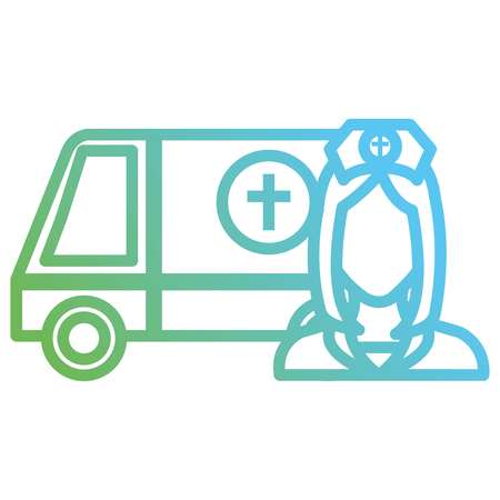 nurse with ambulance icon vector illustration design