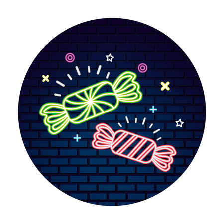 two sweet candies wrapper confetionery neon vector illustration Illustration