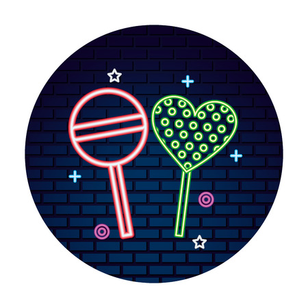 sweet candy lollipops heart bright neon vector illustration