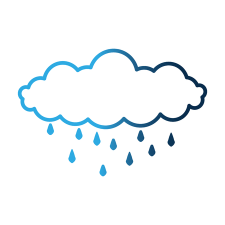 cloud rain drops climate sky image neon vector illustration