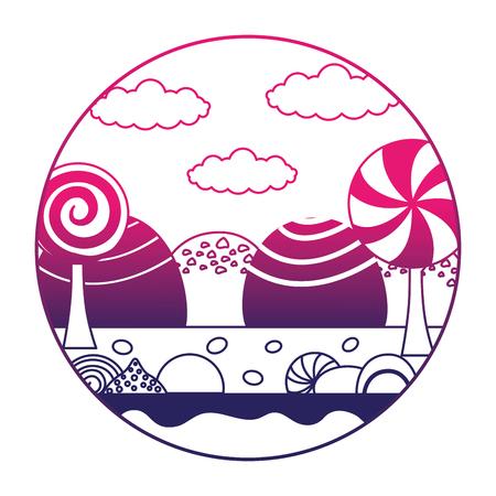 fantasy sweet candies chocolate landscape vector illustration neon