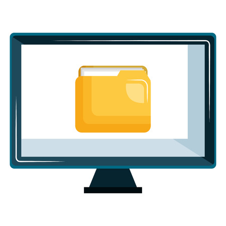 monitor computer with folder vector illustration design