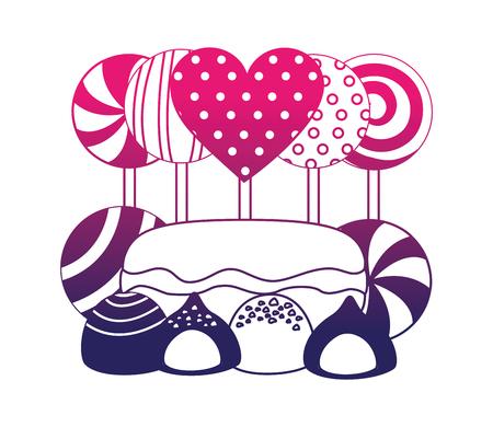 sweet lollipops macarons caramel bonbons chocolate vector illustration neon