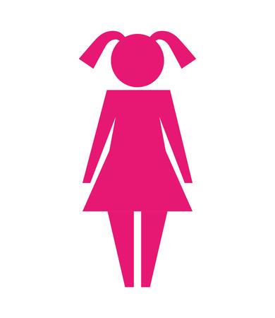 little girl standing pictogram style vector illustration