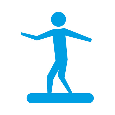 man riding on surfboarding pictogram design vector illustration