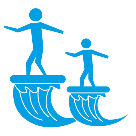 father and son on surfboard sea pictogram vector illustration Illustration