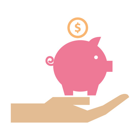hand holding piggy bank money invest vector illustration