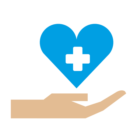 hand holding heart medical healthcare vector illustration Иллюстрация