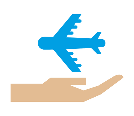 hand holding airplane transport protection vector illustration