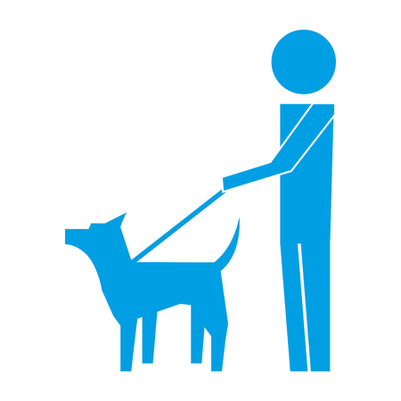 man walking with pet dog pictogram image vector illustration