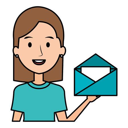 Mujer con sobre de correo, diseño de ilustraciones vectoriales