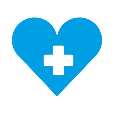 medical heart cross hospital symbol vector illustration