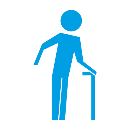 old man walking stick pictogram image vector illustration