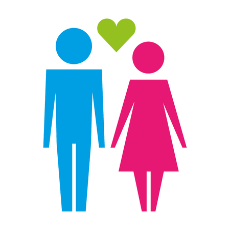 couple together with love heart pictogram vector illustration