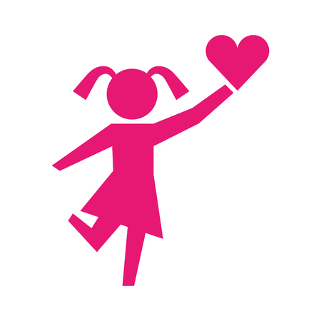 little girl holding heart pictogram image vector illustration Illustration