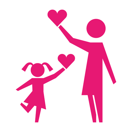 mom and daughter holding love heart pictogram vector illustration Illustration