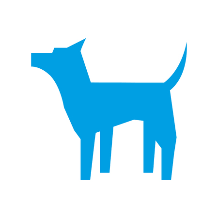 blue dog standing pet pictogram design vector illustration