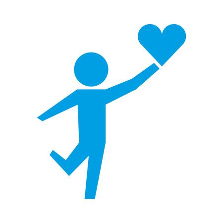 little boy holding love heart healthcare vector illustration Illustration