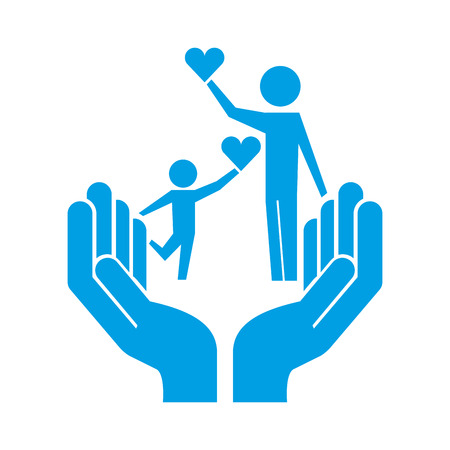 dad and son heart on hands protection pictogram vector illustration Vector Illustration