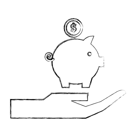 hand holding piggy bank money invest vector illustration hand drawing