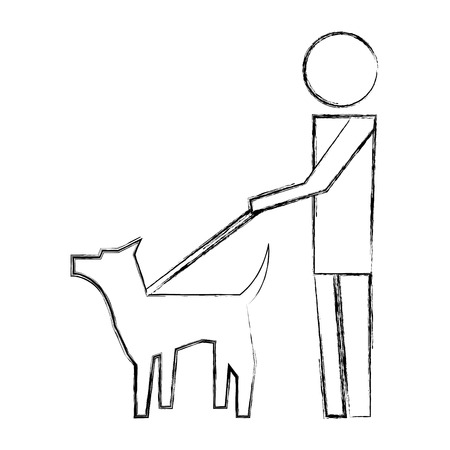 man walking with pet dog pictogram image vector illustration hand drawing