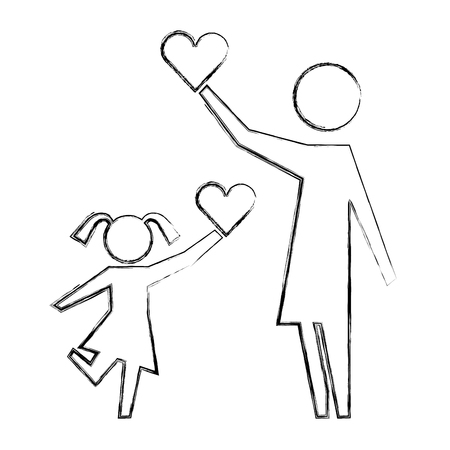 mom and daughter holding love heart pictogram vector illustration hand drawing